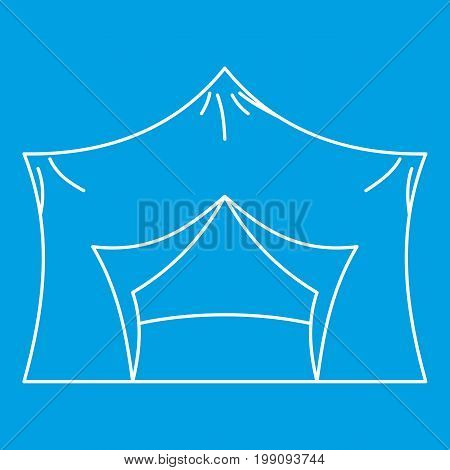 Hiking pavilion icon blue outline style isolated vector illustration. Thin line sign