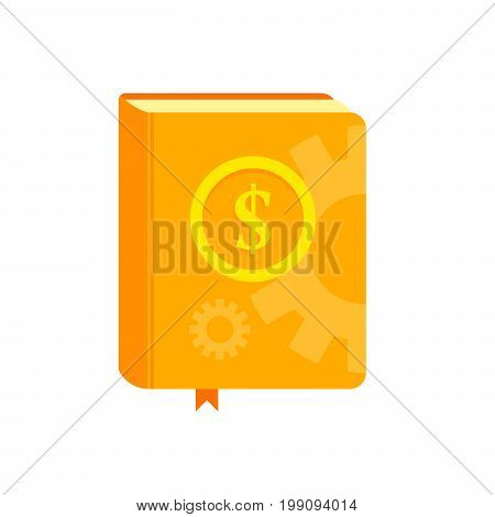 Book With Symbol Of Money On The Cover. Best Seller, How To Earn Concept. Flat Vector Illustration