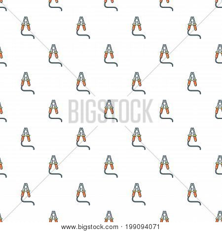 Car battery jumper cable pattern in cartoon style. Seamless pattern vector illustration
