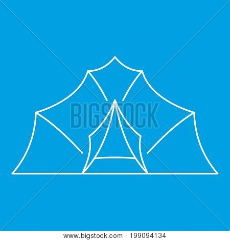 Large tent icon blue outline style isolated vector illustration. Thin line sign