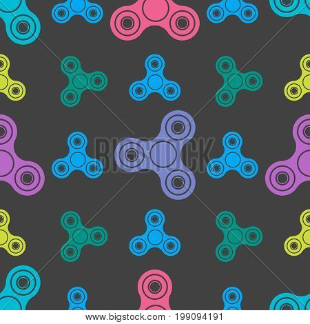 Hand Spinners Seamless Pattern On White Background. Vector Illustration