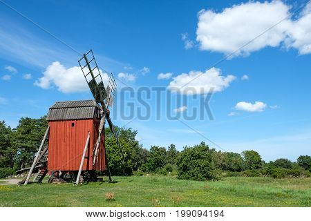 Traditional windmill on Swedish Baltic sea island Oland. Windmills are a common sight on Oland, which is nicknamed