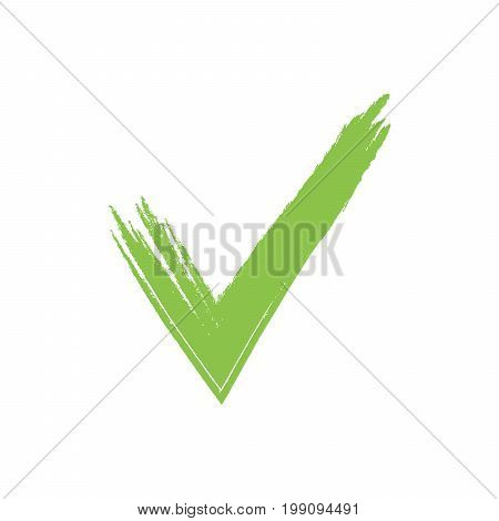 Hand Drawn Green Grunge Check Mark Vector Illustration