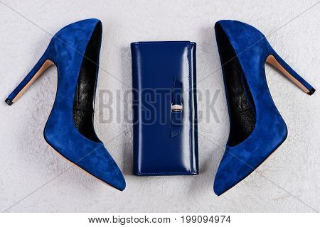 Clutch And Shoes Isolated On Light Grey Fabric Background