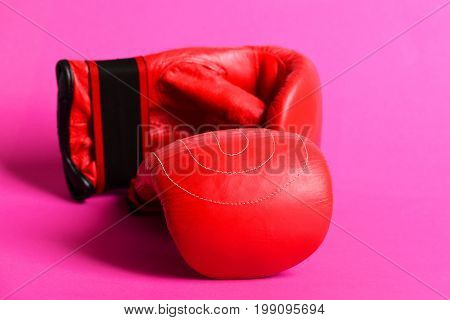 Sport Gloves For Boxing In Red Color Isolated On Pink