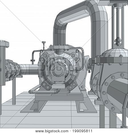 Industrial equipment pump. Wire-frame. EPS10 format. Vector rendering of 3d.