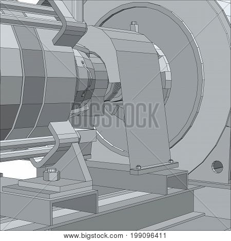 Industrial equipment pump. Electrical engine. Wire-frame. EPS10 format. Vector rendering of 3d.