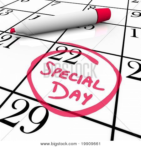 The words Special Day are circled on a white calendar with a red marker