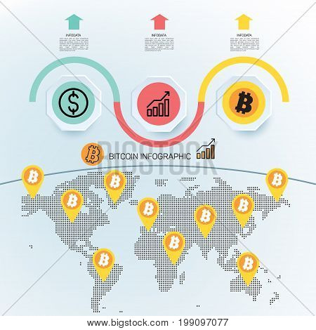 Crypto currency infographics. Popular E-currency on cryptographic technologies. Visualization of money processes in the market