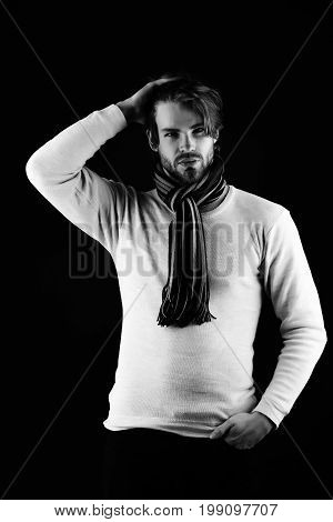 Bearded Macho With Striped Scarf Looking Confidently