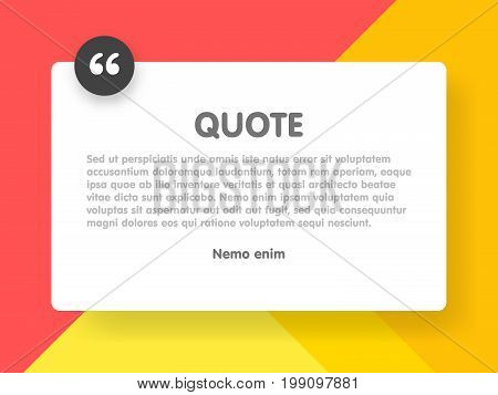 Material Design Style Background And Quote Rectangle With Sample Text Information Vector Illustratio