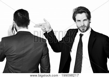 Harassment, Sabotage, Man With Gun Gesture Shooting Busy Businessman