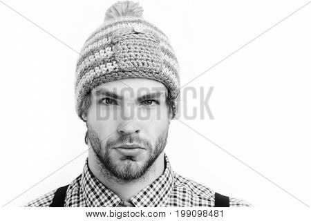 Bearded Man With Confident Face. Man In Winter Hat