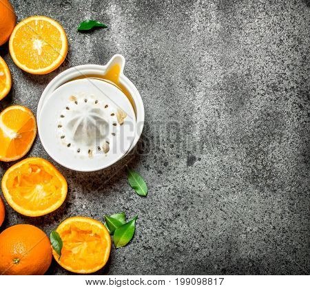 Freshly Squeezed Orange Juice With Pieces Of Fruit .