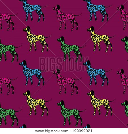 Seamless pattern black dogs silhouettes with color dots Dalmatian on purple background. Animal art design.