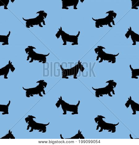 Seamless pattern with black dogs silhouettes scotchterrier on blue background. Childish Animal design for boys.