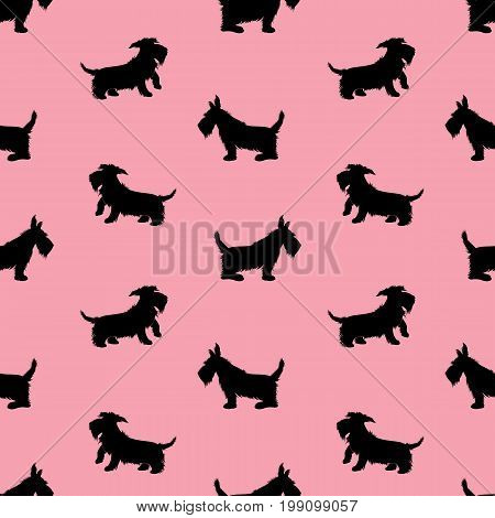 Seamless pattern with black dogs silhouettes scotchterrier on pink background. Childish Animal design for girls.