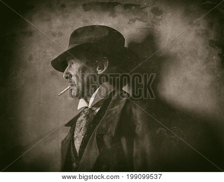 Classic Wet Plate Photo Of 1900 Western Man With Beard Smoking Cigarette.
