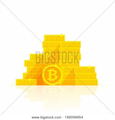 Golden Bitcoins Stack Icon For Cryptocurrency, Virtual Currency, Digital Money, Ecash. Vector Illust