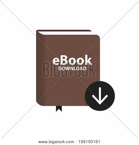 E-book Icon With Download Arrow Button. Online Book Digital Library Concept. Vector Illustration