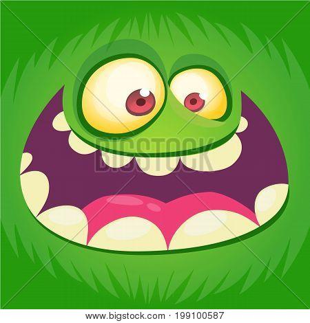 Cartoon furry monster. Vector illustration of troll or goblin