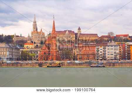 Panorama of Buda side of Budapest with St. Matthias and Fishermen's Bastion from Danube river