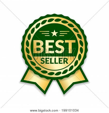 Ribbon award best seller. Gold ribbon award icon isolated white background. Bestseller golden tag sale label badge medal guarantee quality product business certificate Vector illustration