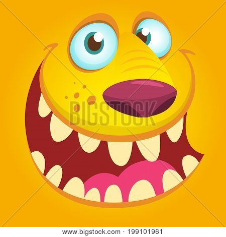 Halloween illustration goblin or troll. Vector illustration of furry monster face avatar