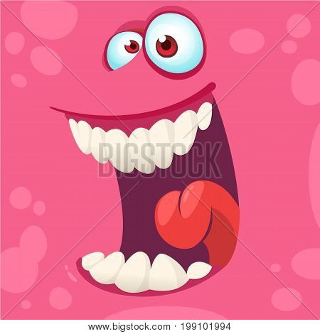 Cartoon monster face isolated . Vector Halloween pink happy monster square avatar