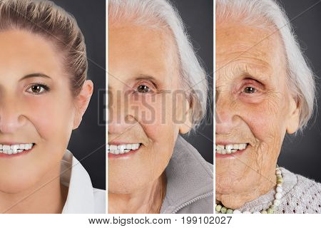 Multiple image showing ageing process of woman over gray background