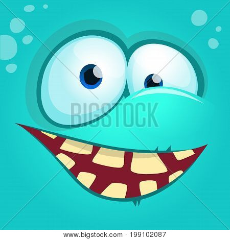 Cartoon monster face isolated . Vector Halloween blue happy monster square avatar. Design for t-shirt sticker print or party invitation