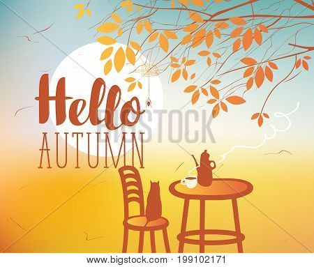Vector landscape in retro style on the autumn theme with the inscription Hello autumn with a sundown cat and furnitures of street cafe poster