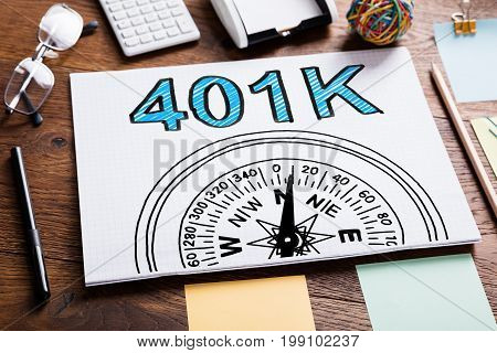 401k Pension Plan In Notebook On The Table