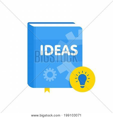 Ideas Book With Lightbulb Flat Icon. Online Business Education Vector Illustration