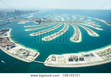 An Artificial Jumeirah Palm Island On Sea Dubai United Arab Emirates