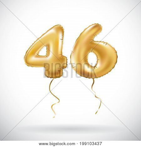 Vector Golden Number 46 Forty Six Metallic Balloon. Party Decoration Golden Balloons. Anniversary Si