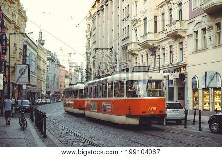 Trams On The Street In Prague, Public Transport