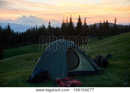 Shot Of A Tourist Tent Placed On Top Of A Hill Beautiful Sunset On The Background Active Sportive Li