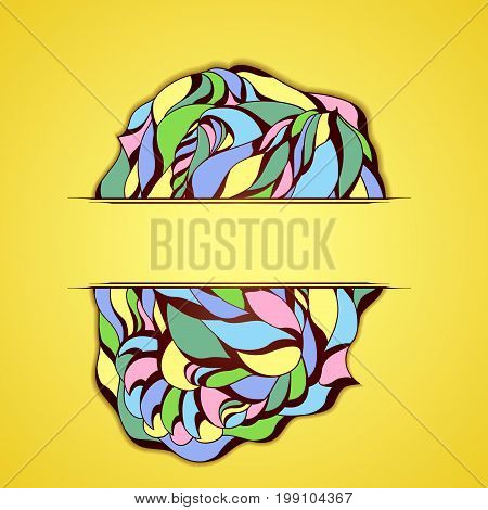 Abstract colorful frame on yellow background.. Illustration 10 version