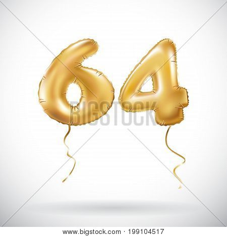 Vector Golden Number 64 Sixty Four Metallic Balloon. Party Decoration Golden Balloons. Anniversary S