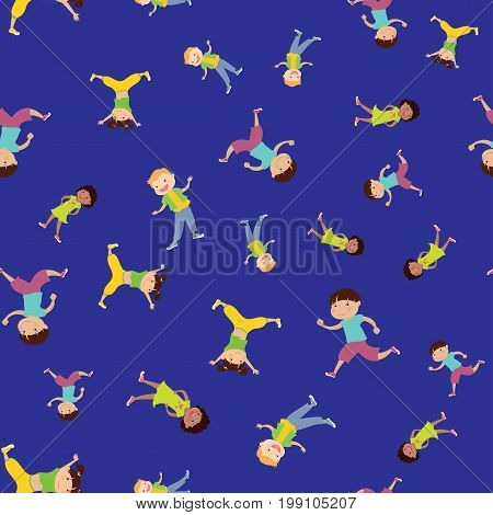 seamless pattern with cartoon kids, blue background, stock vector illustration