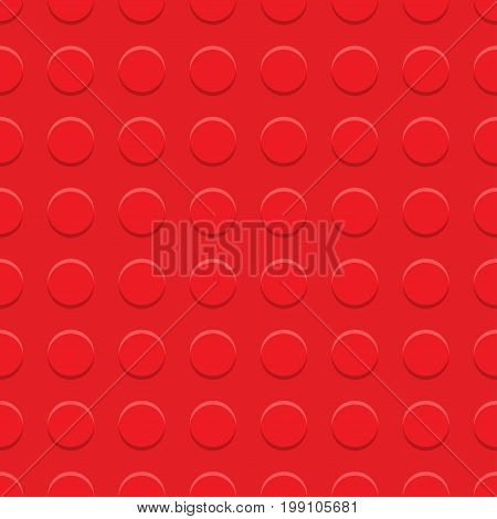 Red plastic construction plate. plastic construction block. Vector Illustration