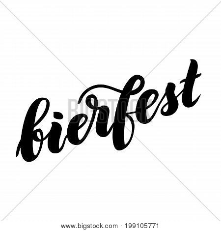 Traditional German Oktoberfest bier festival with text bierfest. Vector hand-drawn brush lettering illustration isolated on white.