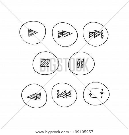 Vector sketch signs: Player buttons hand drawn in a doodle style.