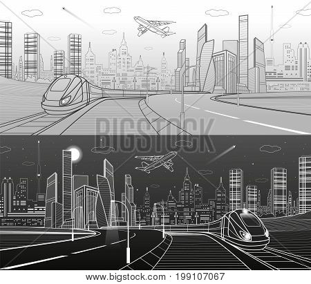 Infrastructure transportation panoramic. Train rides. Towers and skyscrapers. Urban scene, modern city on background, industrial architecture. White and gray lines, vector design art