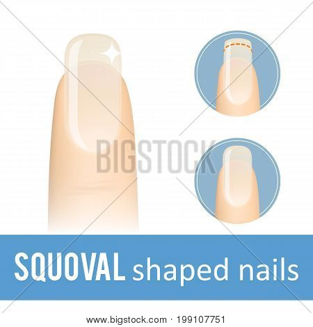 Nail manicure. How to make squoval nail shape. Vector