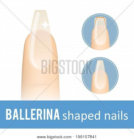 Nail manicure. How to make ballerina nail shape. Vector