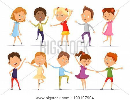 Set of isolated boys and girls at dance, pair of young people dancing. Little or small male and female pupil doing music activity in different postures. Kindergarten entertainment and motion theme