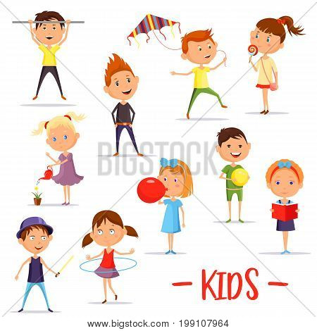Set of isolated boys and girls playing using hula hoop and kite, balloon and bool, schoolboy using sport horizontal bar and schoolgirl reading book. School people, children and kids theme