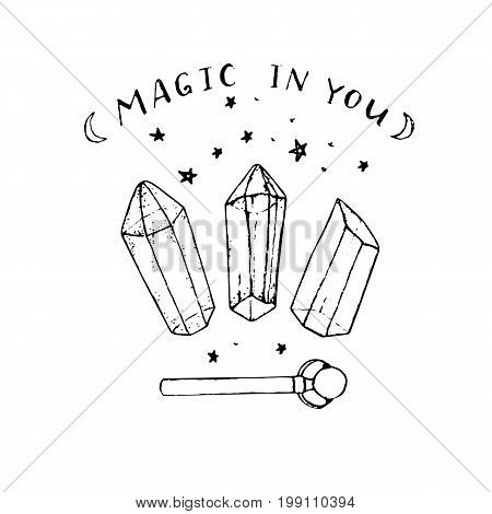 Vector hand painted crystals and wand isolated on the white background. Magic in you.